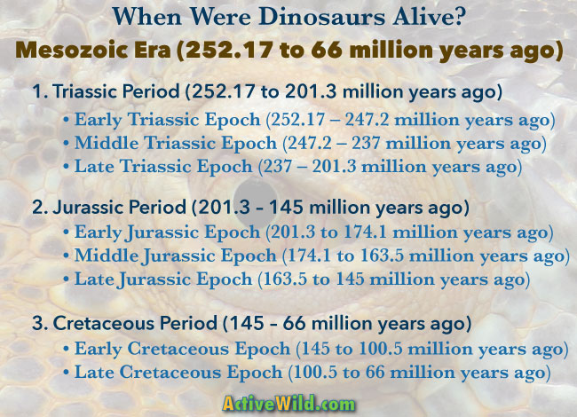 When Were Dinosaurs Alive Mesozoic Era Chart