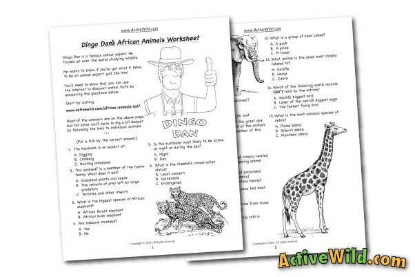 african animals free printable worksheet