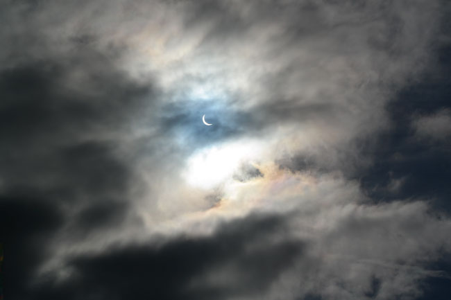 In a partial solar eclipse, the sun is only partially covered by the moon.
