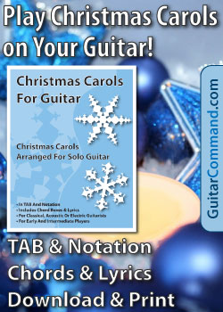 Christmas carols for guitar book ad