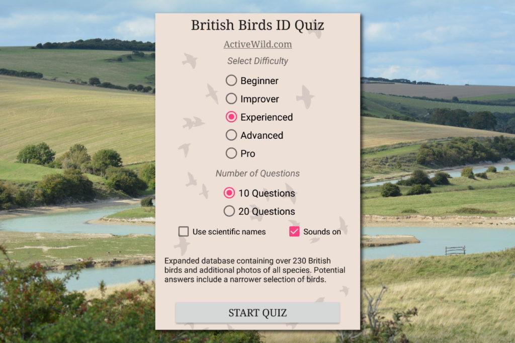 Active Wild Bird Quiz App Menu