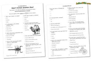 Desert animals worksheet